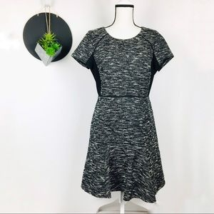 J. Crew Tweed Short Sleeve Zip Back Fit & Flare 12